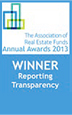 The Association of Real Estate Funds Annual Awards 2013 - WINNER Reporting Transparency
